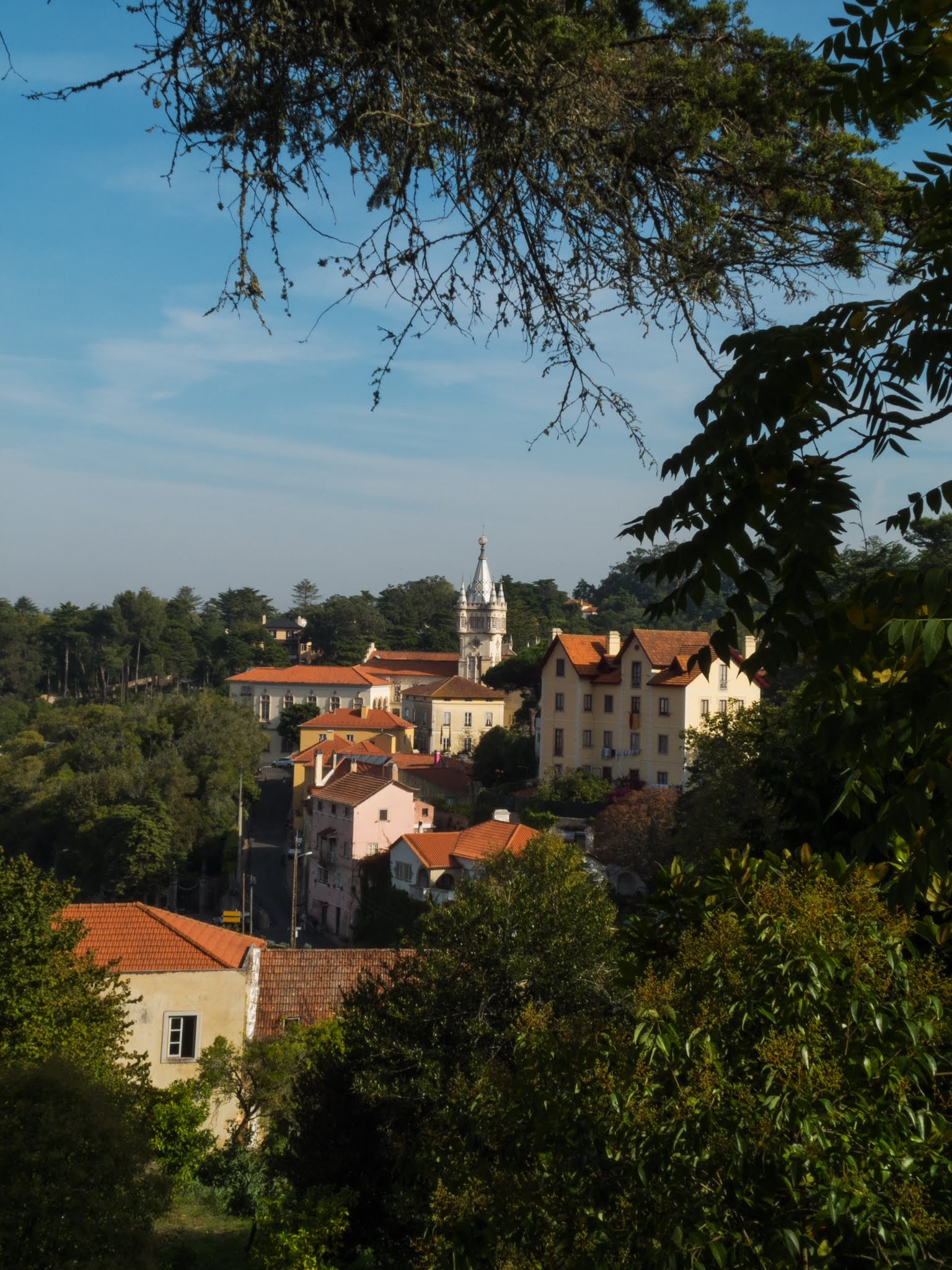 View of Sintra Town Hall through trees on a sunny day.