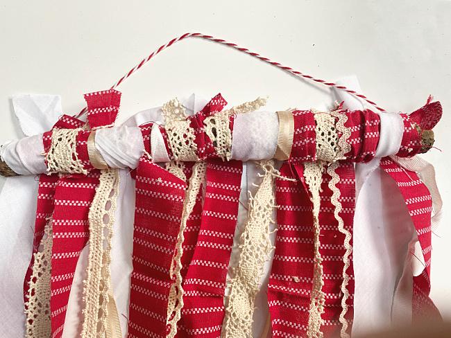 rag flag with hanging twine
