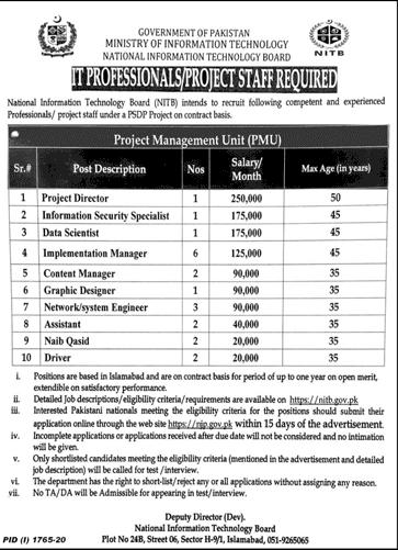 Ministry Of Information Technology Govt Of Pakistan Job Advertisement in Pakistan - Apply Online - www.nitb.gov.pk