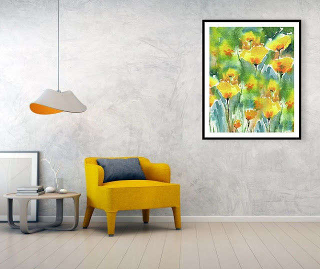 Yellow Orange California Poppy Flowers In Interior Decor artist Irina Sztukowski