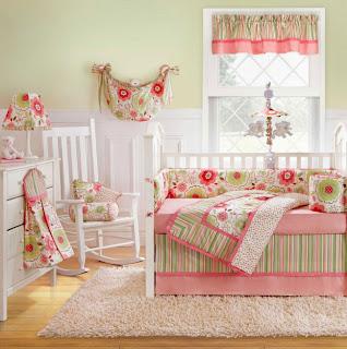 habitación bebé rosa verde