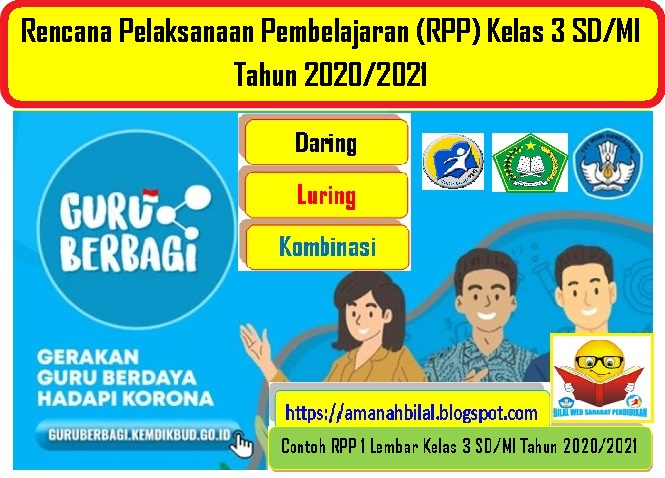 Download Contoh Rpp Daring 1 Lembar Kelas 3 Sd Mi Terbaru Tahun 2020 2021 Bilal Web Inspirasimilenial