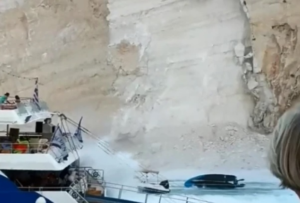 Sette feriti in Grecia dopo che le rocce si sono schiantate sulla spiaggia piena di turisti britannici