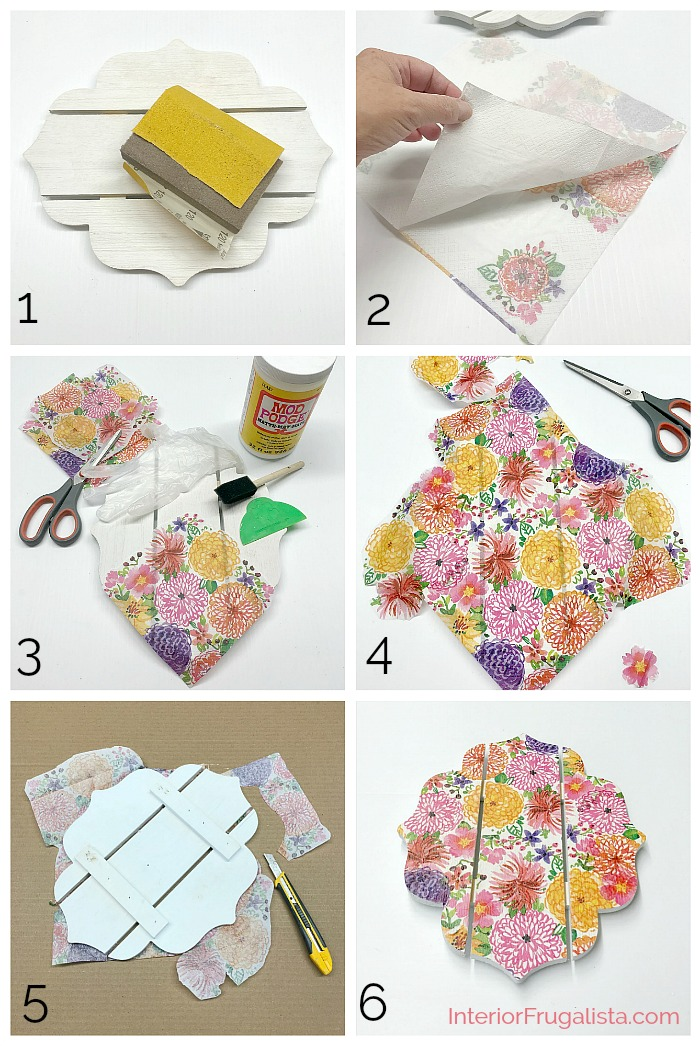 An easy Dollar Store Craft idea with Decoupage Napkins. This DIY Wall Sconce is a budget-friendly Spring or Summer decor idea that can be used as a mason jar candle holder lantern or hanging flower vase.