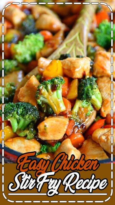 This easy Chicken Stir Fry recipe is loaded with fresh veggies and the most delicious sauce made with honey, soy sauce, and toasted sesame oil! This healthy recipe takes 20 minutes to make and will wow your family with it's amazing flavor! // Mom On Timeout #dinner #entree #maindish #chicken #veggies #vegetables #stirfry #easy #quick #recipe #recipes #momontimeout #ad