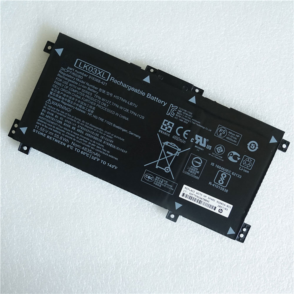 Hp LKO3XL Laptop battery for HP HSTNN-LB7U TPN-W127/W128 TPN-I129 Series