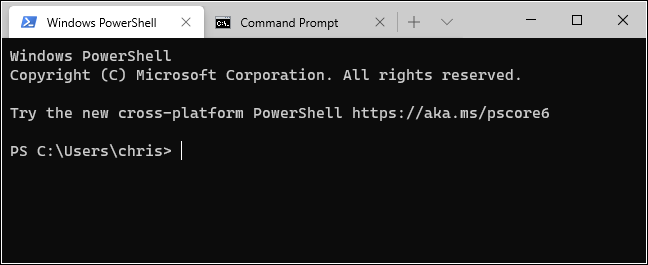 علامات التبويب PowerShell و Command Prompt في Windows Terminal.