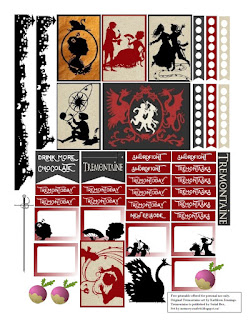 A single page of paper with a number of planner stickers on it. The stickers are all in shades of beige, black, and red. The larger ones feature silhouettes of people in vaguely eighteenth century clothing. The smallest ones say Sworfight, TremonTasks, or TremonToday on them, while two other banners read Drink More Chocolate and Tremontaine, respectively. There are also additional silhouettes of a swan, a city, and a rapier, with a couple of purple turnips thrown in for good measure.