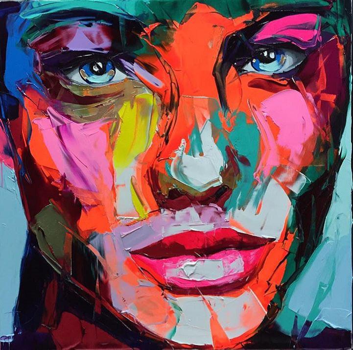 Vibrante retratos con cuchillos de paleta irradian marcadas emociones