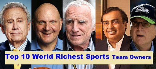 Top 10 Richest Sports Team Owners in the World, 2019, indian Mukesh Ambani on top list.