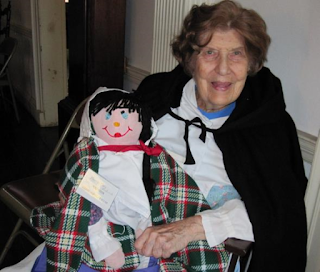 Ruth Eleanor McCorkill with Merry Mary doll she created for Joseph Priestley House