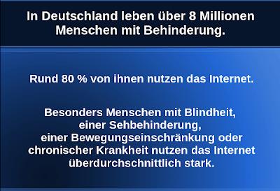 Statistik: Internet-Nutzung von Menschen mit Behinderung in Deutschland