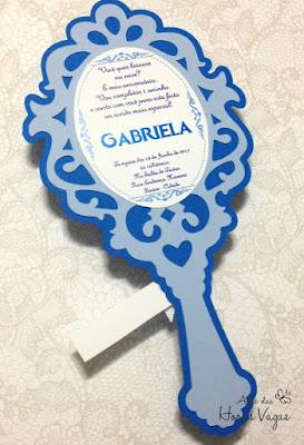 convite artesanal personalizado aniversário infantil espelho de mão vintage frozen diferente criativo sofisticado lindo papelaria personalizada para festas princesa scrapfesta scrap