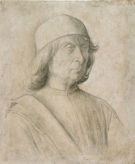 A self-portrait of Gentile Bellini which he is  thought to have drawn in 1496