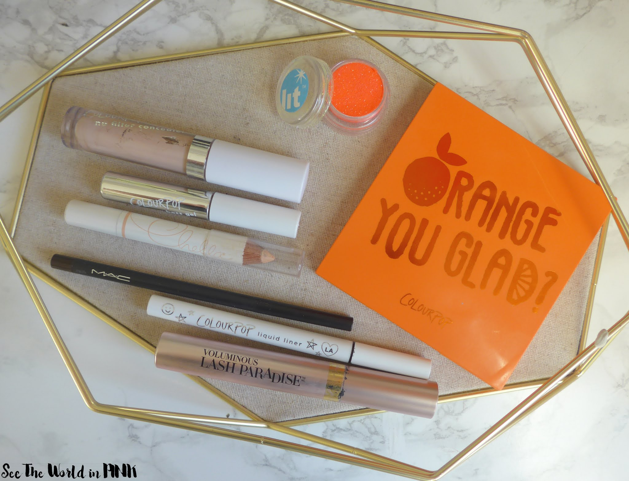 July Shop My Stash - Neon Orange Eye Look