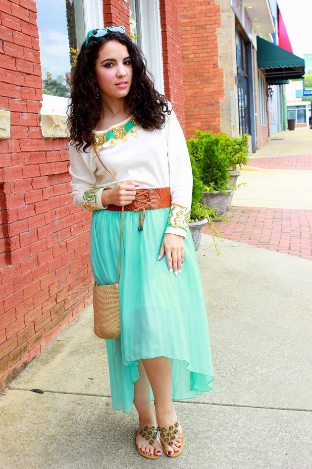 Blue High-Low Hem Skirt