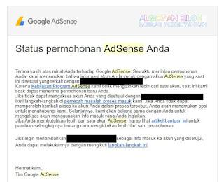 situs terkait dengan alamat email lain- 5 penolakan Google Adsense