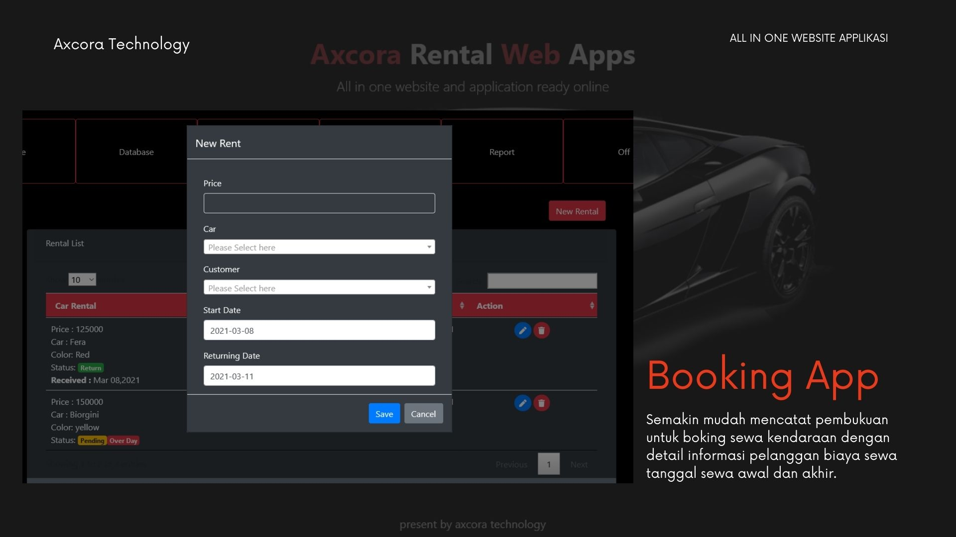 Aplikasi rental kendaraan rent car website app