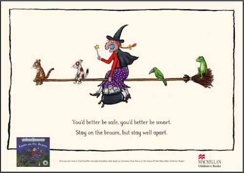 Gruffalo The witch Julia Donaldson Covid socially distanced broomstick