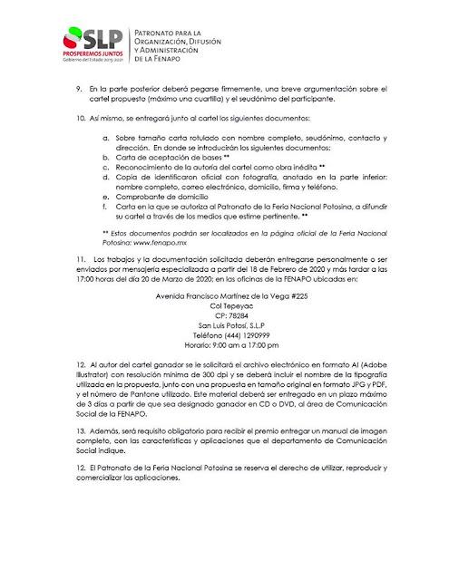 convocatoria cartel fenapo 2020 2