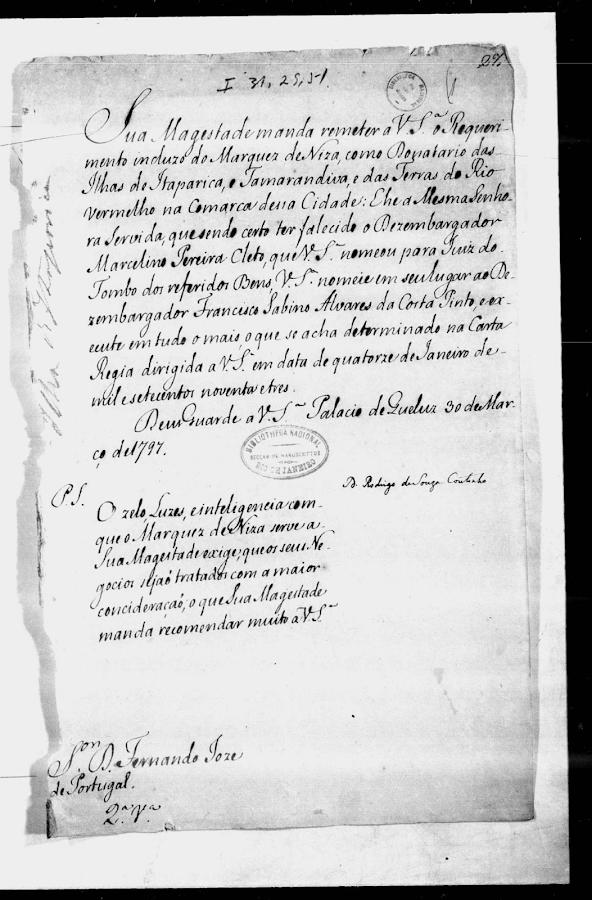 Documento de posse das terras do Rio Vermelho em 1797