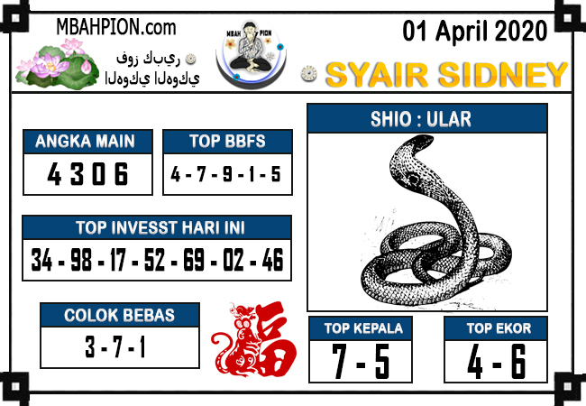 Prediksi Sidney Terjitu Rabu 01 April 2020 - Syair Mbah Pion
