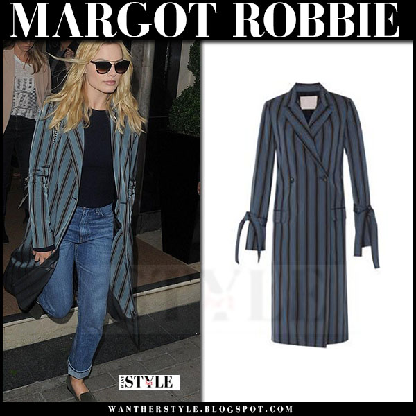 Margot Robbie in striped teal coat brock collection bibibana what she wore
