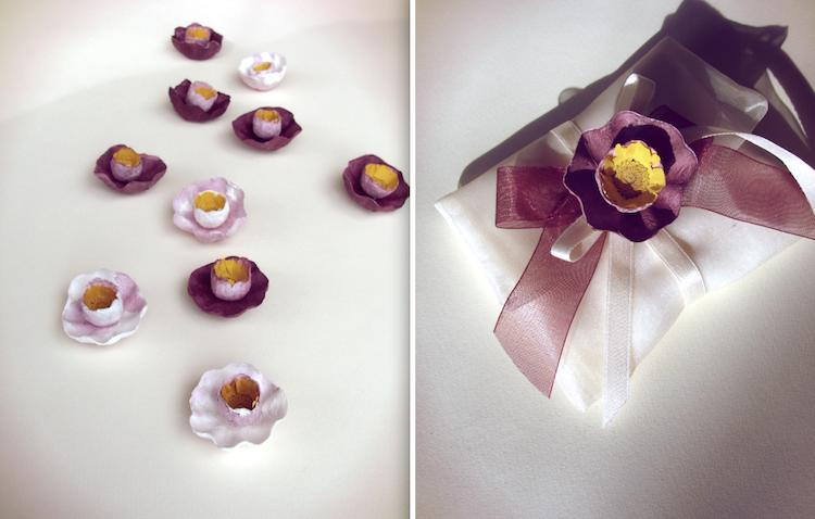 spille con fiori di cartaper matrimoni, eventi aziendali