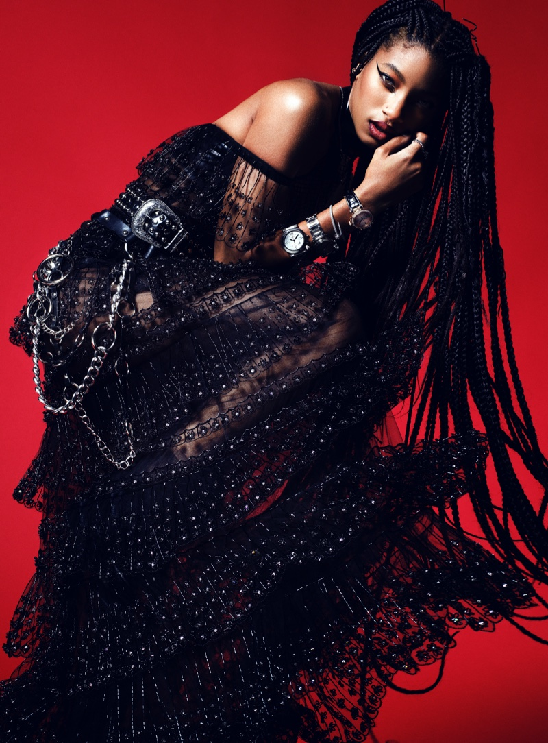 Willow Smith wears rock and roll style for the fashion shoot. Image: Courtesy of V Magazine / Domen & Van de Velde