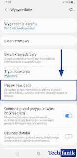 One UI Ustawienia Pasek nawigacji