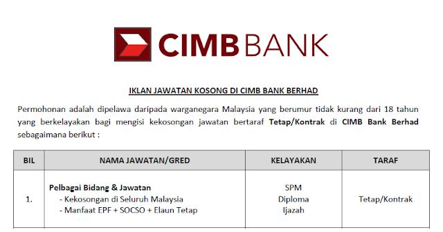 jawatan kosong cimb bank terbaru