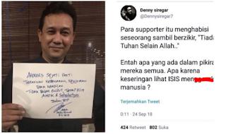 Denny Siregar Berulah, Tagar #TangkapDennySiregar Langsung Trending di Twitter