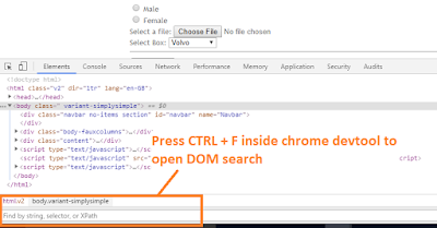 open dom search in chrome devtool
