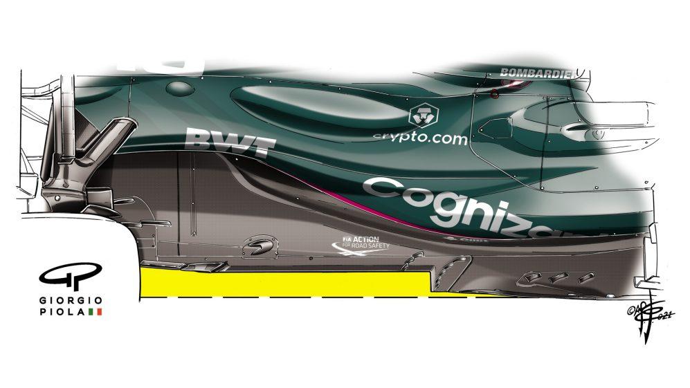 Aston Martin e Mercedes usaram os agora quase padrão Z-andares desde o início