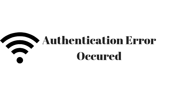 Authentication error occurred