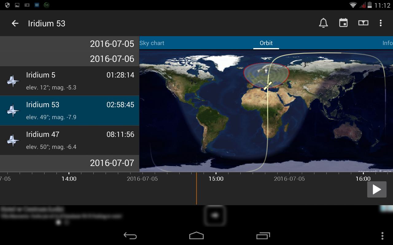 10. Wybór satelity Iridium z aktywną opcją osi czasu