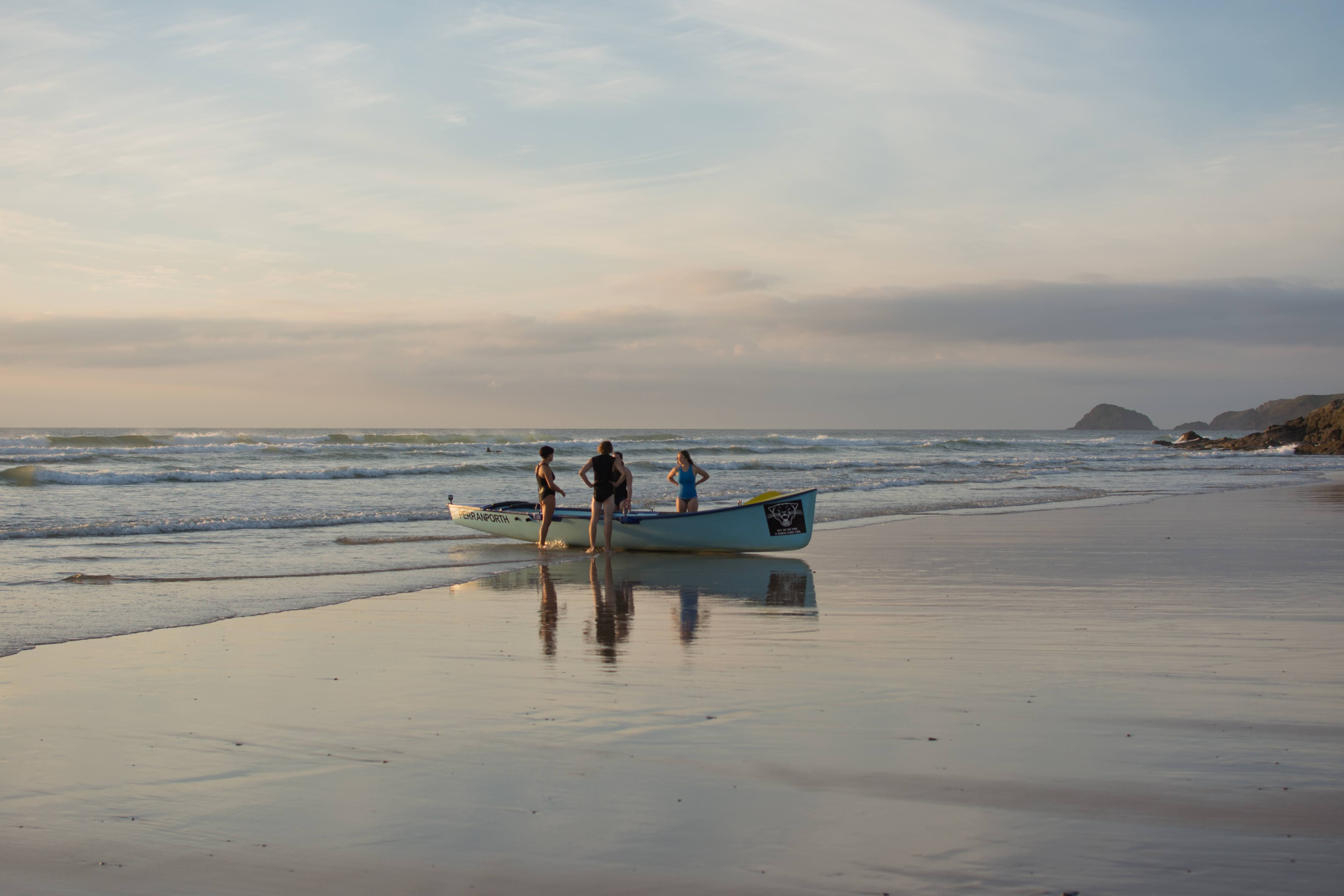Rowing boat on a beach in Cornwall