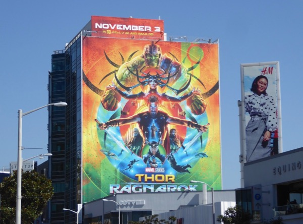 Giant Thor Ragnarok movie billboard