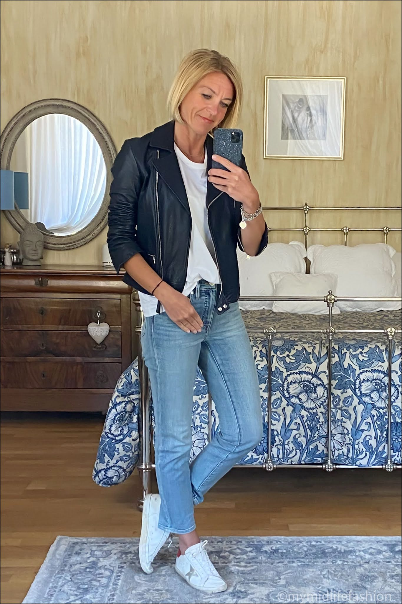 my midlife fashion, Massimo Dutti leather jacket, Joseph crew neck t-shirt, Ralph Lauren cropped jeans, golden goose superstar low top leather trainers