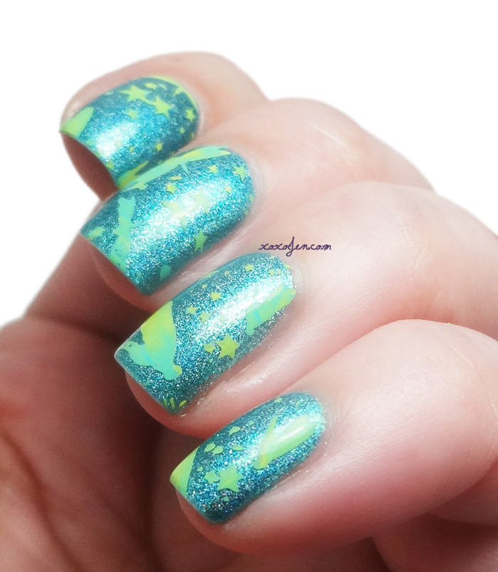 xoxoJen's swatch of xoxoJen's swatch of Vivid Lacquer stamping VL014 Dragonflies