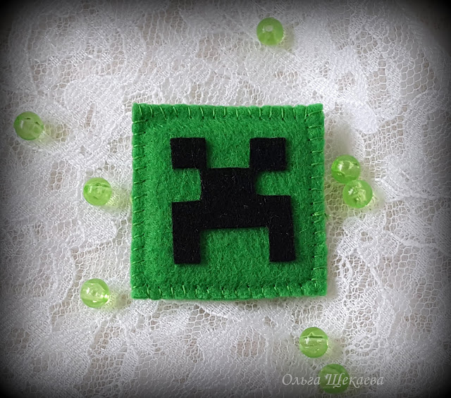брошь, крипер, майнкрафт, зелёный