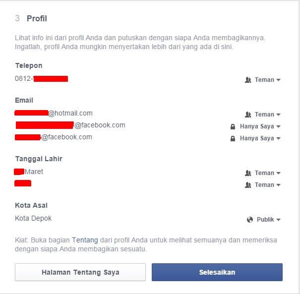 Menyembunyikan profil untuk memaksimalkan keamanan Facebook