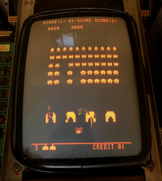 Space Invaders cocktail table monitor