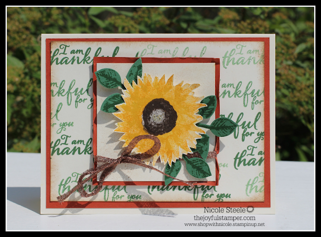 Stampin' Up!'s Painted Harvest fall card with sentiment-stamped background | by Nicole Steele The Joyful Stamper