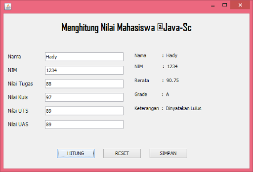 Gambar-15 : Program Menghitung Nilai Mahasiswa Dengan Java GUI