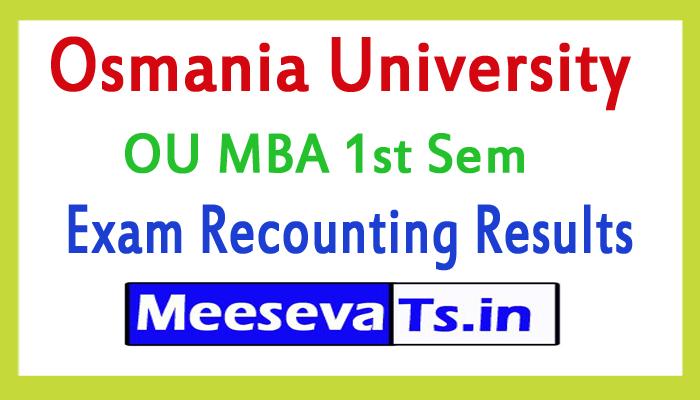 Osmania University MBA 1st Sem Recounting Results