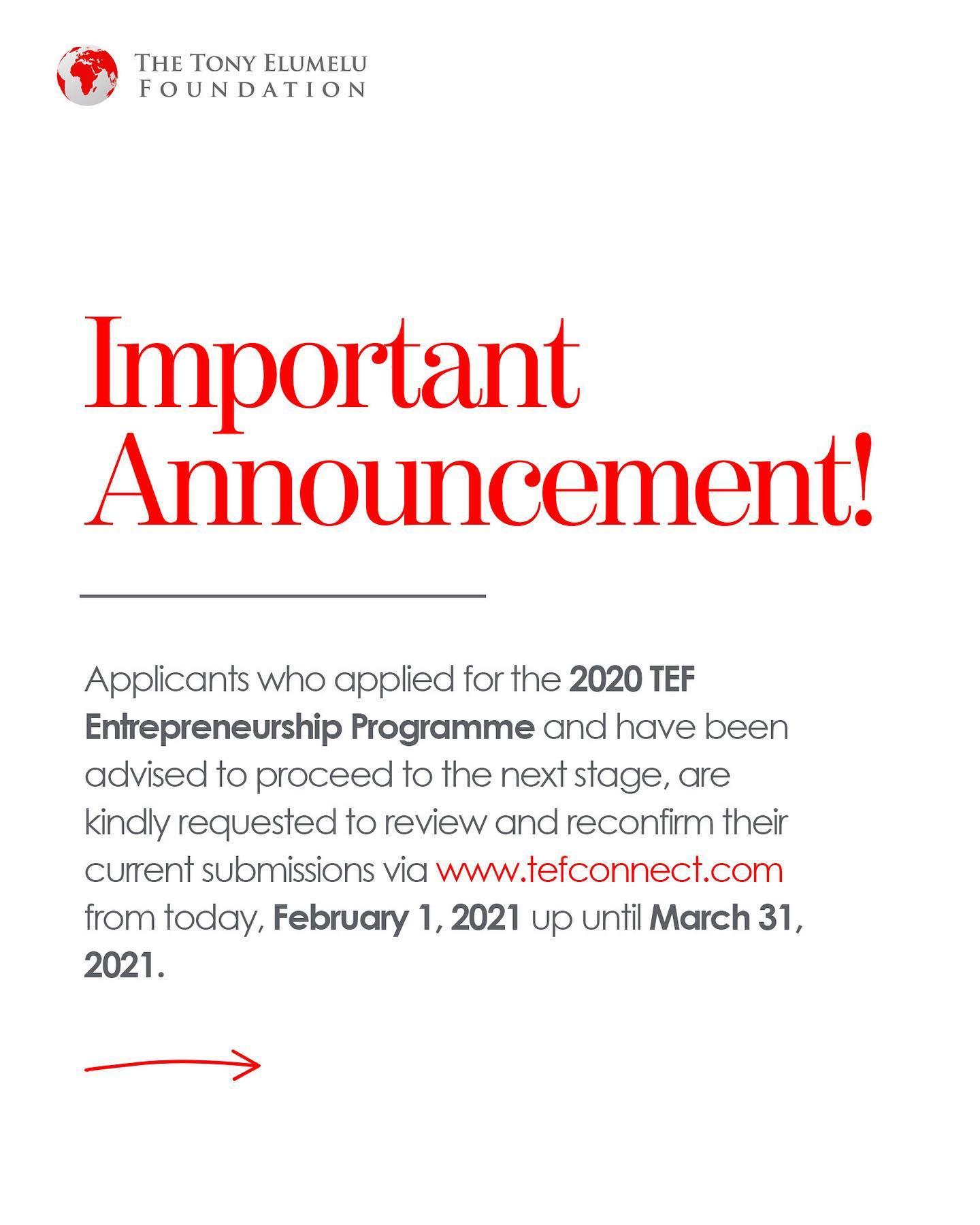 TEF Entrepreneurship Programme Application Form 2021