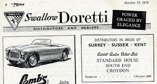 Swallow Doretti advert from Motor 13 October 1954