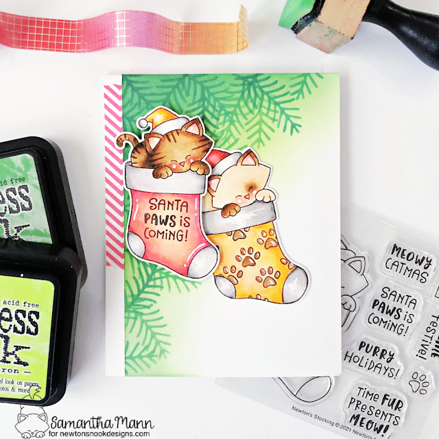 Cat Christmas Card by Samantha Mann | Newton's Stocking Stamp Set and Holiday Foliage Stencil by Newton's Nook Designs