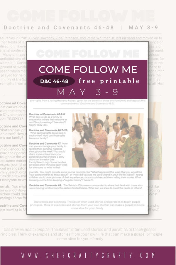 Come Follow Me Printable for Doctrine and Covenants  May 3-9, Pinterest Pin.